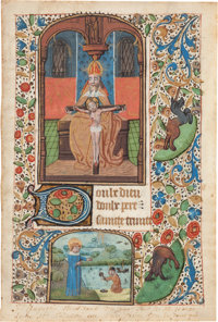 [Illuminated Manuscript]. Manuscript Leaf from a Medieval Book of Hours: Seven Requests to Our Lord, beginning wit