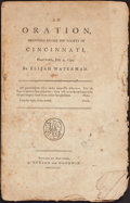 Books:Americana & American History, Elijah Waterman. An Oration, Delivered Before the Society of theCincinnati... Hartford 1794. F...