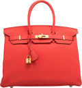 """Luxury Accessories:Bags, Hermes 35cm Rouge Pivoine Clemence Leather Birkin Bag with GoldHardware. R Square, 2014. Pristine Condition. 14"""" Width x..."""