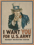 General Americana, James Montgomery Flagg (American, 1877-1960). Uncle Sam.Lithograph in colors. 39 x 29-1/4 inches (99.1 x 74.3 cm). Pr...