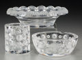 Art Glass:Lalique, Three Lalique Clear and Frosted Glass Tablewares, post-1945. Marks:Lalique, France. 3-1/8 inches high (7.9 cm) (tallest...(Total: 3 Items)