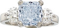 Estate Jewelry:Rings, Fancy Blue Diamond, Diamond, Platinum Ring. ...