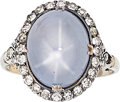 Estate Jewelry:Rings, Antique Star Sapphire, Diamond, Platinum, Gold Ring. ...