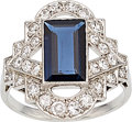 Estate Jewelry:Rings, Art Deco Sapphire, Diamond, Platinum Ring . ...