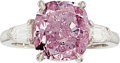 Estate Jewelry:Rings, Fancy Intense Purplish-Pink Diamond, Diamond, Platinum Ring. ...