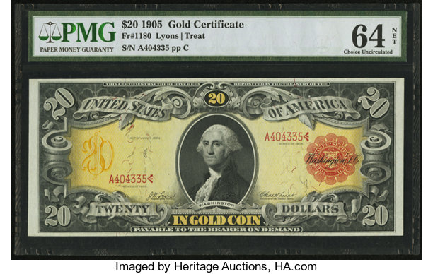Fr. 1180 $20 1905 Gold Certificate PMG Choice Uncirculated 64   Lot ...