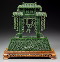Asian:Chinese, A Chinese Carved Spinach Jade Gate with Swinging Child. 12-1/4 h x11-1/2 w x 2-3/4 d inches (31.1 x 29.2 x 7.0 cm) (excludi...