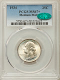 Washington Quarters, 1934 25C Medium Motto, FS-402, MS67+ PCGS. CAC....