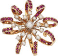 Estate Jewelry:Brooches - Pins, Retro Ruby, Cultured Pearl, Gold Brooch. ...