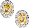 Estate Jewelry:Earrings, Yellow Sapphire, Diamond, Gold Earrings, Andrew Sarosi . ...