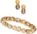 Estate Jewelry:Suites, Smoky Quartz, Citrine, Gold Jewelry Suite. ... (Total: 2 Items)