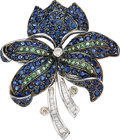 Estate Jewelry:Brooches - Pins, Diamond, Multi-Stone, White Gold Brooch, Andrew Sarosi. ...