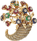 Estate Jewelry:Brooches - Pins, Diamond, Multi-Stone, Gold Brooch. ...