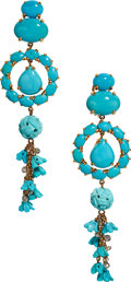 Estate Jewelry:Earrings, Turquoise, Diamond, Gold Earrings . ...