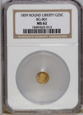 California Fractional Gold: , 1859 25C Liberty Round 25 Cents, BG-801, R.3, MS62 NGC. NGC Census:(2/12). PCGS Population (23/78). (#10662)...