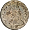 Early Half Dimes: , 1800 H10C AU55 NGC. V-1, LM-1, R.3. Attractively toned in sky-blue,tan-gold, and pearl-gray shades. Void of any detectable...