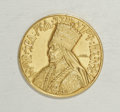 Ethiopia: , Ethiopia: Haile Selassie gold Presentation Medal 1923EE (1931), Gill S12, the plate coin, lustrous AU-UNC, somewhat crudely made, sign...