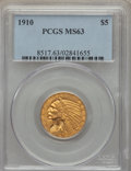 Indian Half Eagles: , 1910 $5 MS63 PCGS. PCGS Population: (652/274). NGC Census:(998/337). CDN: $740 Whsle. Bid for problem-free NGC/PCGS MS63. ...