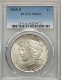 Peace Dollars: , 1928-S $1 MS64 PCGS. PCGS Population: (2024/62). NGC Census:(1268/43). CDN: $900 Whsle. Bid for problem-free NGC/PCGS MS64...