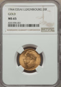 Luxembourg, Luxembourg: Jean gold Essai 20 Francs 1964 MS65 NGC,...