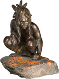 Fine Art - Sculpture, American, Richard Vernon Greeves (American, b. 1935). SquattingIndian, 1993. Bronze with brown patina. 8 inches (20.3 cm) highon...