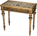 Furniture : French, A Louis XVI-Style Giltwood and Faux-Marble Painted Table, late 18thcentury with later elements. 34-3/4 h x 37 w x 20-3/8 d ...