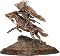 Fine Art - Sculpture, American, Don Baker (American, 20th Century). Lakota Warrior. Bronzewith brown patina. 19 inches (48.3 cm) high on a 2 inches (5...