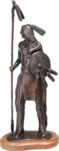 Fine Art - Sculpture, American, Enoch Kelly Haney (American, 20th Century). Warrior. Bronzewith brown patina. 15-1/2 inches (39.4 cm) high on a 1 inch ...