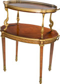 Furniture : French, A Louis XVI-Style Mahogany and GIlt Bronze Table de Thé, early 20thcentury. 37 h x 32-1/4 w x 21-1/2 inches d (94.0 x 81.9 ...