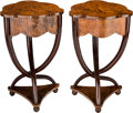 Furniture : Continental, A Pair of Biedermeier-Style Burl Walnut Side Tables, 21st century.28 inches high x 17-1/2 inches wide (71.1 x 44.5 cm). ... (Total: 2Items)