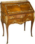 Furniture , A Louis XV-Style Walnut and Gilt Bronze-Mounted Desk, early 20th century. 40-1/2 h x 33-1/2 w x 17-3/4 d inches (102.9 x 85....