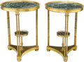 Furniture : French, A Pair of Louis XVI-Style Gilt Bronze and Variegated MarbleGueridons, 21st century. 27-3/8 inches high x 20-1/4 inches diam...(Total: 2 Items)