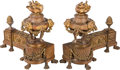 Decorative Arts, French:Other , A Pair of Louis XVI-Style Patinated Bronze Chenets. 13-3/4 h x 15 wx 6-1/4 d inches (34.9 x 38.1 x 15.9 cm). ... (Total: 2 Items)