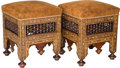 Furniture : Continental, A Pair of Moorish Inlaid and Upholstered Stools, 21st century. 21 hx 16 w x 16 d inches (53.3 x 40.6 x 40.6 cm). ... (Total: 2 Items)