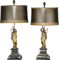 Decorative Arts, French:Lamps & Lighting, A Pair of French Bronze Allegorical Figures Mounted as Lamps.36-1/4 inches high (92.1 cm) (overall). ... (Total: 2 Items)