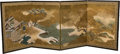 Asian:Chinese, A Chinese Painted Folding Screen, late Qing Dynasty. 35-1/2 incheshigh x 98 inches wide (90.2 x 248.9 cm) (extended). ...