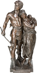 Sculpture, Eugene Marioton (French, 1854-1933). The Viking Family. Bronze with brown patina. 32 inches (81.3 cm) high. Inscribed on...