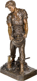 Sculpture, Emile Louis Picault (French, 1833-1915). Le Minerai. Bronze with brown patina. 35 inches (88.9 cm) high. Inscribed on ba...