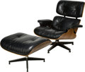 Furniture : American, A Charles and Ray Eames Black Leather Lounge Chair and Ottoman forHerman Miller, circa 1960-1971. 32-1/2 h x 33-1/8 w x 30 ...(Total: 2 Items)