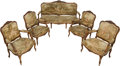 Furniture : French, A Five-Piece Louis XV-Style Carved Walnut and Aubusson UpholsteredParlor Suite, 19th century. 43 h x 72 w x 27 d inches (10...(Total: 5 Items)