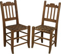 Furniture , A Pair of Texas Carved Walnut and Caned Side Chairs, attributed to Fredericksburg, circa 1875. 36 h x 16-3/4 w x 15 d inches... (Total: 2 Items)