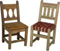 Furniture , Two New Mexico Carved and Painted Pine Side Chairs, 20th century. 36 h x 15-3/4 w x 17 d inches (91.4 x 40.0 x 43.2 cm). ... (Total: 2 Items)
