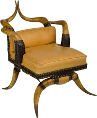A Texas Horn and Leather Chair, Probably Lamar County, late 19th-early 20th century 31-5/8 h x 27-3/4 w x 36 d inc