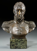 Other, A Bronze Bust of the Marquis de Lafayette after Pierre Jean David d'Angers. Marks: P.J. DAVID, 1830, FRANCE, F. BARBEDIENN...