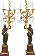 Decorative Arts, French:Lamps & Lighting, A Pair of French Empire-Style Gilt and Patinated Bronze Three-LightCandelabra Mounted as Table Lamps. 40-1/2 inches (102.9... (Total:2 Items)