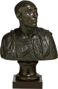 A Bronze Bust of a Classical Politician on Wooden Socle Base 27-1/2 h x 18 w x 10-1/2 d inches (69.9 x 45.7 x 26.7
