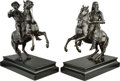 Bronze:European, A Pair of Large Patinated Bronze Figures: Soldiers onHorseback. 26-1/2 h x 21-3/4 w x 11-7/8 d inches (67.3 x 5...(Total: 2 Items)