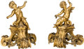 Decorative Arts, French, A Pair of French Gilt Bronze Chenet with Putti, 19th century inpart. 14 inches high (35.6 cm). ... (Total: 2 Items)