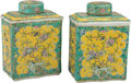 Asian:Chinese, A Pair of Chinese Famille Verte Enameled Porcelain Covered TeaJars. Marks: Six-character Kangxi mark in blue underglaze and...(Total: 2 Items)