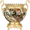 Decorative Arts, Continental:Other , An Aesthetic-Style Gilt Bronze-Mounted and Glazed Ceramic Urn, 21stcentury. 20-1/2 inches high x 21-1/2 inches wide (52.1 x...